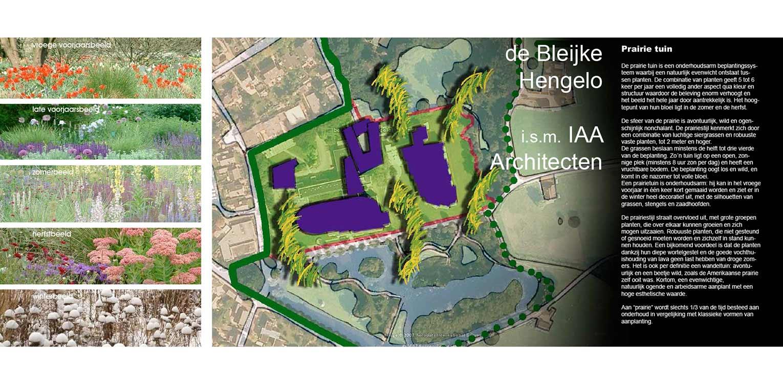 Schetsontwerp van de prairietuin Hengelo waar voor het eerst in Nederland op grote schaal prairiebeplanting werd gebruikt. Ontwerp Denkers in Tuinen Apeldoorn.