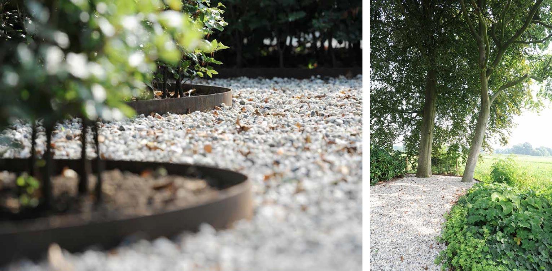 kantopsluiting in cortenstaal bij boerderijtuin Barchem. De sfeer en beplanting sluiten aan bij het landelijke karakter van de plek en dragen er toe bij dat het nu één harmonieus geheel is.