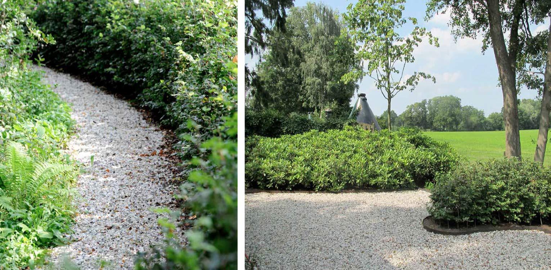 kantopsluiting cortenstaal met grind boerderijtuin Barchem. De sfeer en beplanting waaronder rhododendron sluiten aan bij het landelijke karakter van de plek en dragen er toe bij dat het nu één harmonieus geheel is.