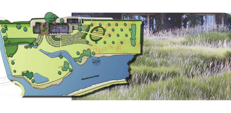 ontwerp boerderijtuin Groede waar de kreken uitgangspunt voor het ontwerp zijn en waar golvende stroken grassen de overgang vanaf de woning vormen Denkers in Tuinen