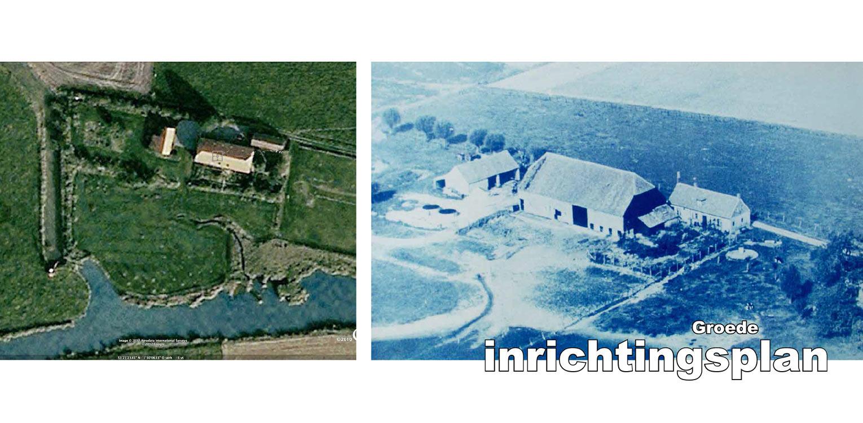 Google Earth met boerderijtuin Groede waar de kreken uitgangspunt voor het ontwerp zijn en waar golvende stroken grassen de overgang vanaf de woning vormen Denkers in Tuinen