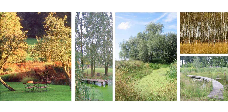 sfeerbeelden boerderijtuin Groede waar de kreken uitgangspunt voor het ontwerp zijn en waar golvende stroken grassen de overgang vanaf de woning vormen Denkers in Tuinen