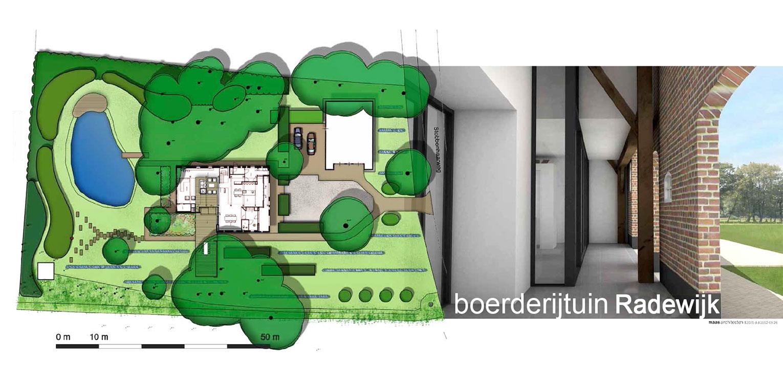 schetsontwerp boerderijtuin Radewijk - Maas architecten - op de kavel aanwezige boomopstand en de landelijke setting zijn leidend geweest Denkers in Tuinen.