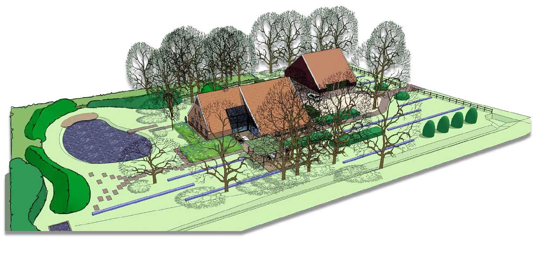 3D vogelvlucht boerderijtuin Radewijk. In het tuinplan staat de natuurlijke uitstraling centraal en sluit het harmonieus op zijn (bebouwde) omgeving aan Denkers in Tuinen.