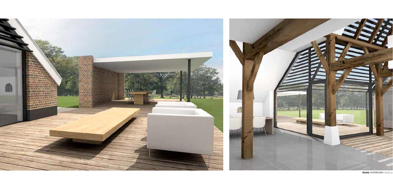 3D impressie Maas architecten boerderijtuin Radewijk. In het tuinplan staat de natuurlijke uitstraling centraal en sluit het harmonieus op zijn (bebouwde) omgeving aan Denkers in Tuinen.