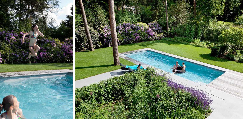 bloeiende rhodowal in bostuin in Ermelo. De op de kavel aanwezige bossfeer is centraal gesteld in het ontwerp met het zwembad als stijlvol vormgegeven onderdeel Denkers in Tuinen