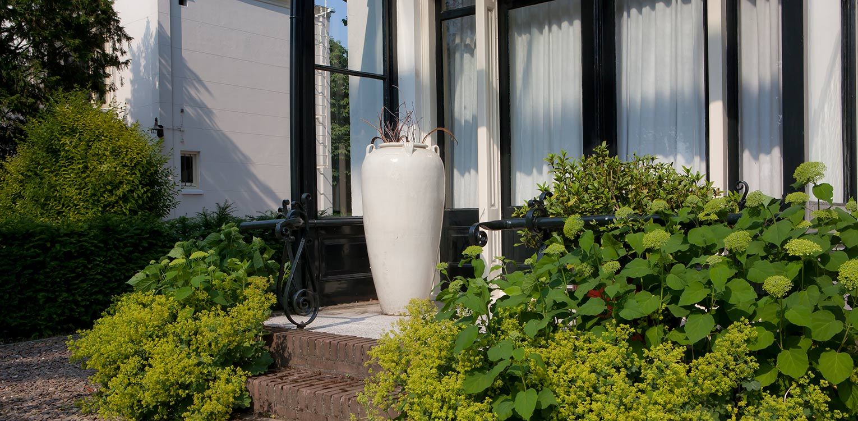 serre voorzijde villatuin Bussum met vrouwenmantel en hortensia en solitaire vaas entreezijde. Het ontwerp van de achtertuin sluit naadloos aan bij nieuwe, moderne glazen uitbouw Denkers in Tuinen.