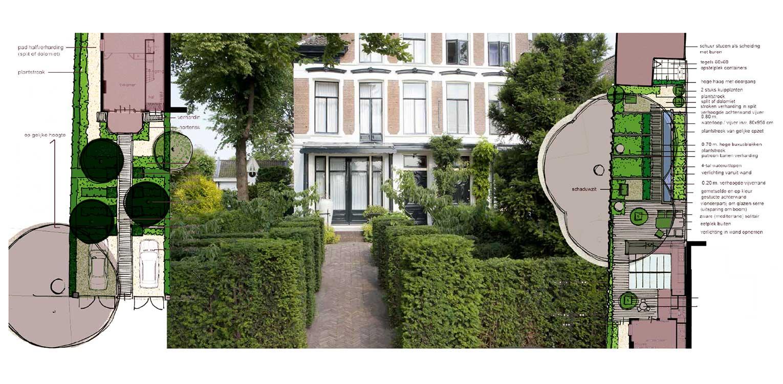 schetsontwerp villatuin Bussum met formeel vormgegeven entreezijde. Het ontwerp van de achtertuin sluit naadloos aan bij nieuwe, moderne glazen uitbouw Denkers in Tuinen.