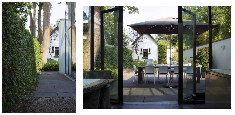 villatuin Bussum met formeel vormgegeven entreezijde. Het ontwerp van de achtertuin sluit naadloos aan bij nieuwe, moderne glazen uitbouw Denkers in Tuinen.