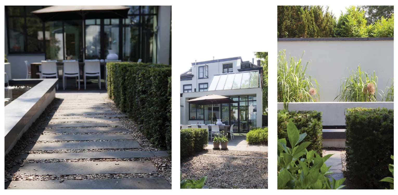 stroken verharding in grind naast witte tuinmuur villatuin Bussum met formeel vormgegeven entreezijde. Het ontwerp van de achtertuin sluit naadloos aan bij nieuwe, moderne glazen uitbouw Denkers in Tuinen.