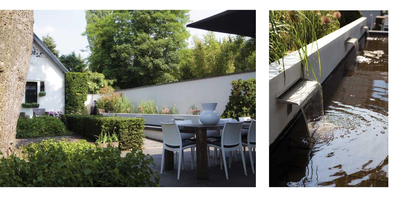wateruitlopen en witte tuinmuur villatuin Bussum met formeel vormgegeven entreezijde. Het ontwerp van de achtertuin sluit naadloos aan bij nieuwe, moderne glazen uitbouw Denkers in Tuinen.