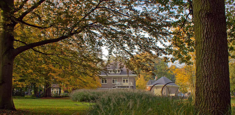 bomen en grassen in herfstkleuren bedrijfstuin Apeldoorn. De stijlvolle nieuwe tuinaanleg herstelde de oorspronkelijke verbinding met het tegenover gelegen Oranjepark weer Denkers in Tuinen.