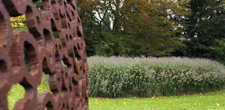 grassenborder in bedrijfstuin Apeldoorn. De stijlvolle nieuwe tuinaanleg herstelde de oorspronkelijke verbinding met het tegenover gelegen Oranjepark weer Denkers in Tuinen.