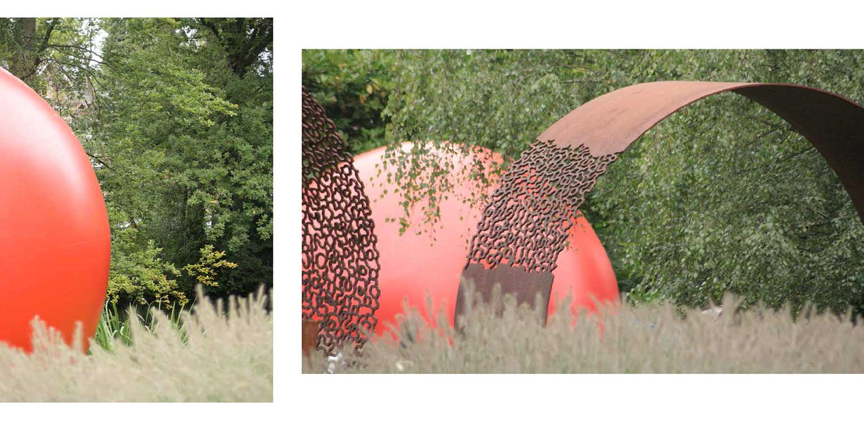 kunst in bedrijfstuin Apeldoorn. De stijlvolle nieuwe tuinaanleg herstelde de oorspronkelijke verbinding met het tegenover gelegen Oranjepark weer Denkers in Tuinen.