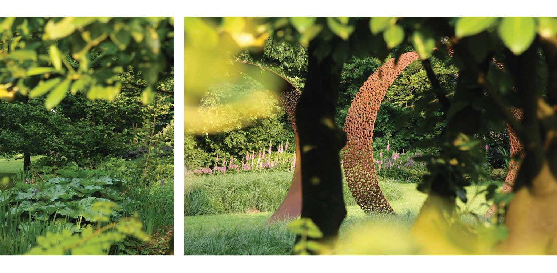 kunst cortenstaal in bedrijfstuin Apeldoorn. De stijlvolle nieuwe tuinaanleg herstelde de oorspronkelijke verbinding met het tegenover gelegen Oranjepark weer Denkers in Tuinen.