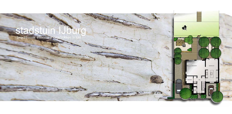 schetsontwerp stadstuin IJburg. De in de door Piet Boon ontworpen woning aangebrachte beach house sfeer is consequent in de tuin doorgetrokken middels toepassing van schelpen, leemstuc, vlonders, wilgenvlechtwerk en meerpalen Denkers in Tuinen.