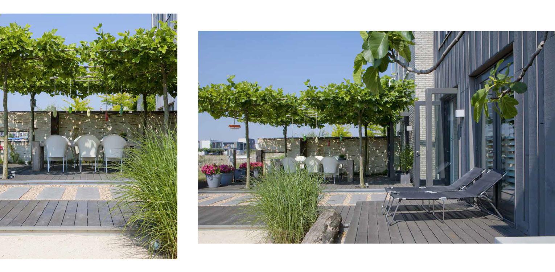 stadstuin IJburg. De in de door Piet Boon ontworpen woning aangebrachte beach house sfeer is consequent in de tuin doorgetrokken middels toepassing van schelpen, leemstuc, vlonders, wilgenvlechtwerk en meerpalen Denkers in Tuinen.