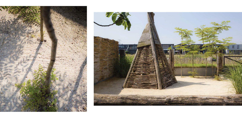 stadstuin IJburg. De in de door Piet Boon ontworpen woning aangebrachte beach house sfeer is consequent in de tuin doorgetrokken middels toepassing van schelpen, leemstuc en meerpalen Denkers in Tuinen.