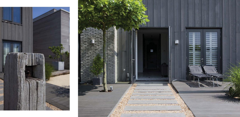 stadstuin IJburg. De in de door Piet Boon ontworpen woning aangebrachte beach house sfeer is consequent in de tuin doorgetrokken middels toepassing van schelpen, vlonders en meerpalen Denkers in Tuinen.