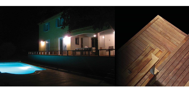 Deze villatuin Brignoles bestaat uit meerdere niveaus met houten terrassen van Tablazz onder meer om het zwembad Denkers in Tuinen.