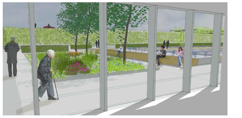 3D entree zorgtuin Hanepraij Gouda. Een bij het gebouw passend tuinontwerp, dat karakter aan het geheel geeft voor de specifieke doelgroep Denkers in Tuinen