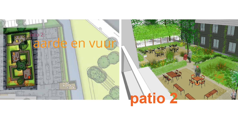 3D patio zorgtuin Hanepraij Gouda. Een bij het gebouw passend tuinontwerp, dat karakter aan het geheel geeft voor de specifieke doelgroep Denkers in Tuinen