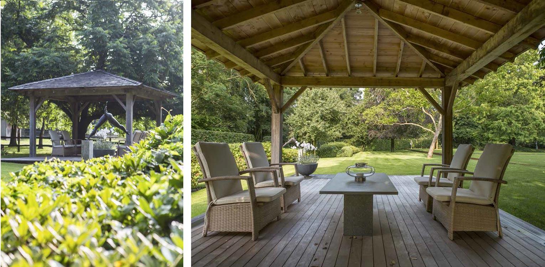 Overdekt terras in tablazz buitenparket op het knooppunt van zichtlijnen in boerderijtuin - Denkers in Tuinen.