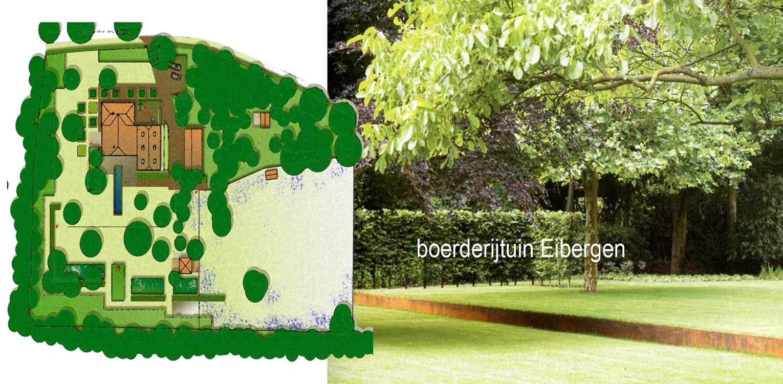 schetsontwerp boerderijtuin Eibergen vroeg m.n. om nieuwe structuur door het opstellen van een totaalplan met veel nieuwe zichtlijnen en verbindingen - Denkers in Tuinen.