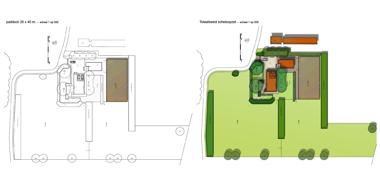 schetsopzet paddock landschappelijke tuin Heerde waar ontwerp bepaald is door de openheid van het open ontginningslandschap met zijn noord-zuid relaties - Denkers in Tuinen