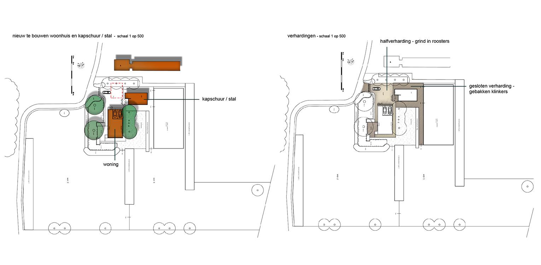 schetsopzet bebouwing en verharding landschappelijke tuin Heerde waar ontwerp bepaald is door de openheid van het open ontginningslandschap met zijn noord-zuid relaties - Denkers in Tuinen
