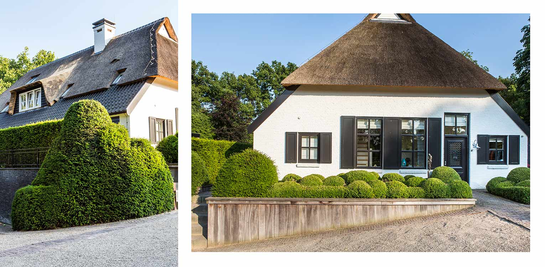 taxusblob boerderijtuin Nijverdal. Er is eenheid en stijl in de aanwezige verrommeling gebracht en kunnen de pony's rondom tot aan de woning komen Denkers in Tuinen.