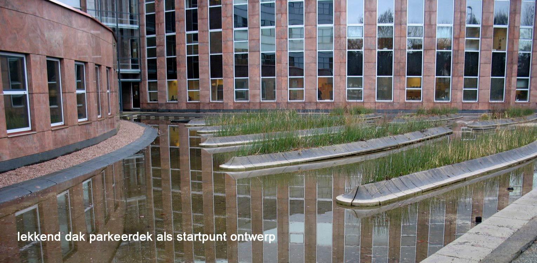 daktuin Hilversum - gebouw Olympia. Omvormen lekkend dak parkeerdek van kijk- naar kijk- en gebruikstuin door massaal toegepaste prairiebeplanting - Denkers in Tuinen.