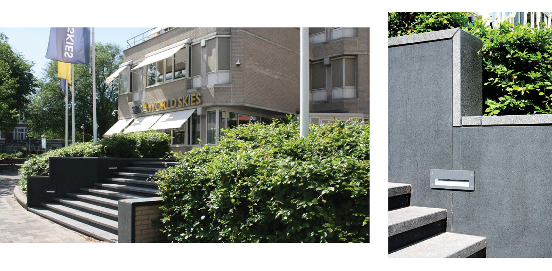detail trap kantoortuin Den Haag. Massale aanplant van vormgesnoeide beuk heeft tot een fraai aaneengesloten groen en golvend landschap geleid Denkers in Tuinen