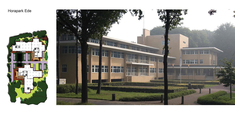 schetsontwerp bedrijfstuin Horapark Ede met de gelaagdheid van de 'Hilversumse school' – strak geschoren blokhagen versus oude grillige vliegdennen Denkers in Tuinen.