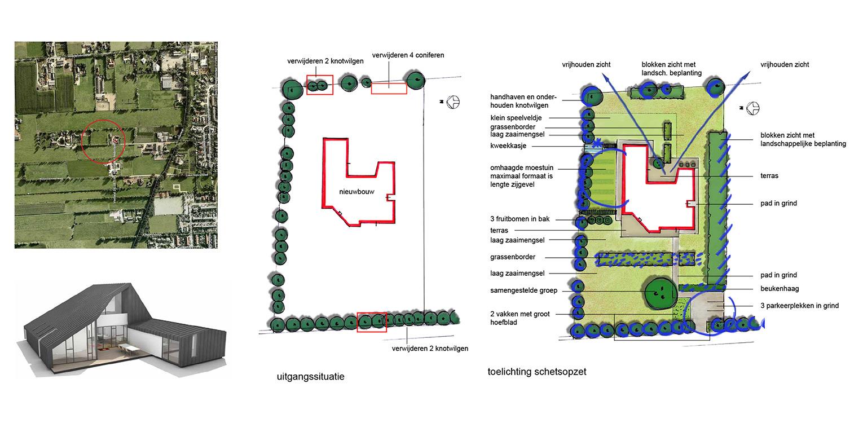schetsopzet landschappelijke tuin Hoevelaken Heldere opzet waar nieuwe en moderne architectuur (Maas architecten) een relatie aangaat met het 'oude' omliggende landschap Denkers in Tuinen