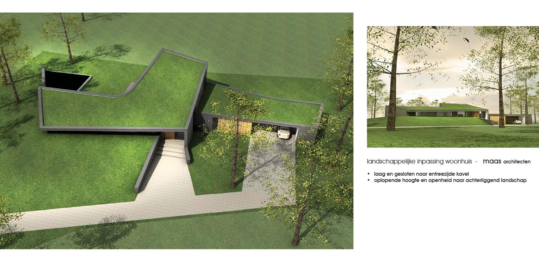 3D landschappelijke tuin Ommen. Gesloten aan entree zijde maar zich magistraal openend aan de achterzijde naar het omliggende landschap - Denkers in Tuinen