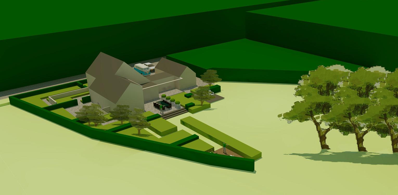 3D vogelvlucht landschappelijke tuin Wenum Wiesel. Door het vrijzetten van de majestueus uitgegroeide houtwal komt deze in het plan vorstelijk naar voren Denkers in tuinen