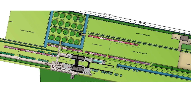 Moderne villatuin. Essentieel voor het ontwerp van deze tuin is de lengtebeleving. Het graslandschap wordt zelfs letterlijk onder het huis doorgetrokken!