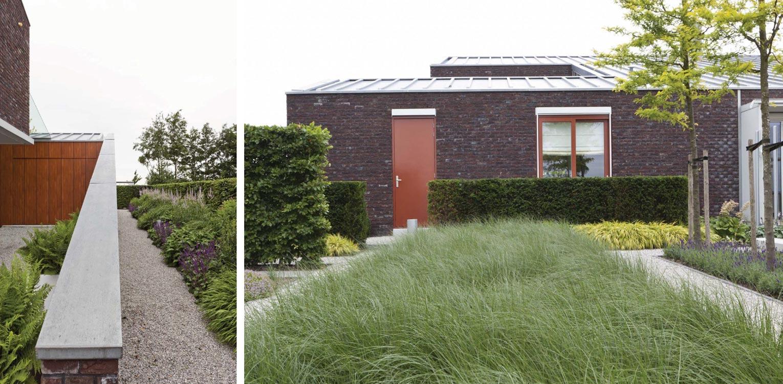 grassenborders en hagen villatuin Dronten. Tuin aan de polderrand van Dronten, gekoppeld aan het omliggende polderlandschap met noodzakelijke windbeschutting - Denkers in Tuinen