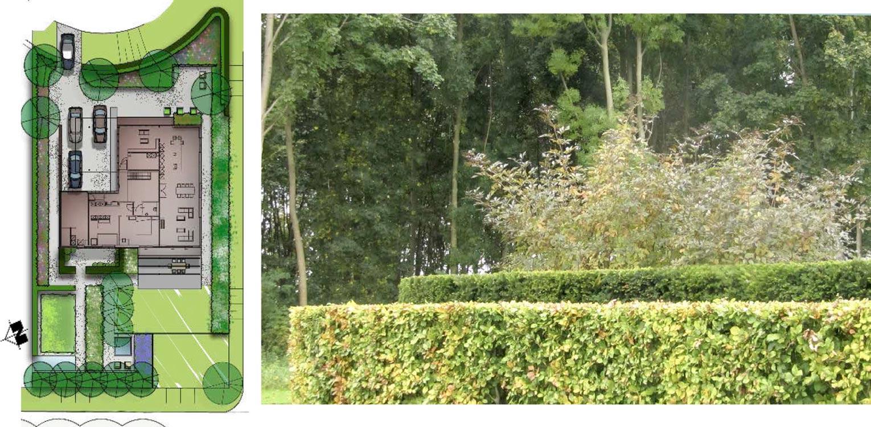schetsontwerp villatuin Dronten. Tuin aan de polderrand van Dronten, gekoppeld aan het omliggende polderlandschap met noodzakelijke windbeschutting - Denkers in Tuinen