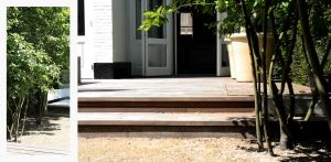 stadspatio Den Haag waar op beperkt aantal m2's een heerlijke buitenruimte is ontstaan met beplanting, vlonders halfverharding en Domani winterharde potten Denkers in Tuinen