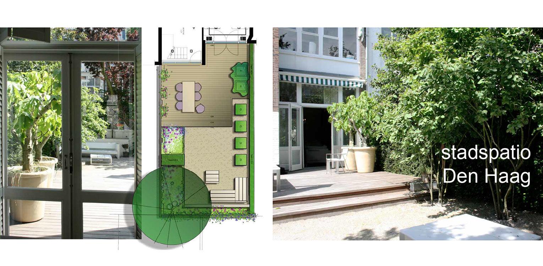 schetsontwerp stadspatio Den Haag waar op beperkt aantal m2's een heerlijke buitenruimte is ontstaan met beplanting, vlonders, halfverharding en winterharde Domani plantenbakken Denkers in Tuinen