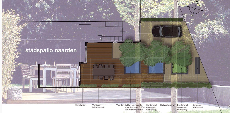 stadspatio Naarden waar op kleine ruimte tuin, terras en parkeren verrassend worden gecombineerd met verhoogde waterspiegels - Denkers in Tuinen