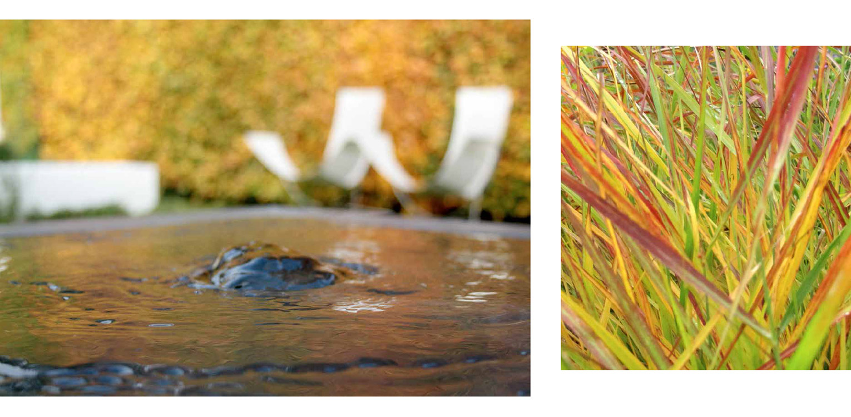 spiegeling herfst in Domani waterelement moderne stadstuin in hartje Apeldoorn. Rust en sfeer zijn hier leidend geweest met een perfecte aansluiting tussen in- en exterieur - Denkers in Tuinen