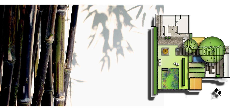 schetsontwerp moderne stadstuin in hartje Apeldoorn. Rust en sfeer zijn hier leidend geweest met een perfecte aansluiting tussen in- en exterieur - Denkers in Tuinen