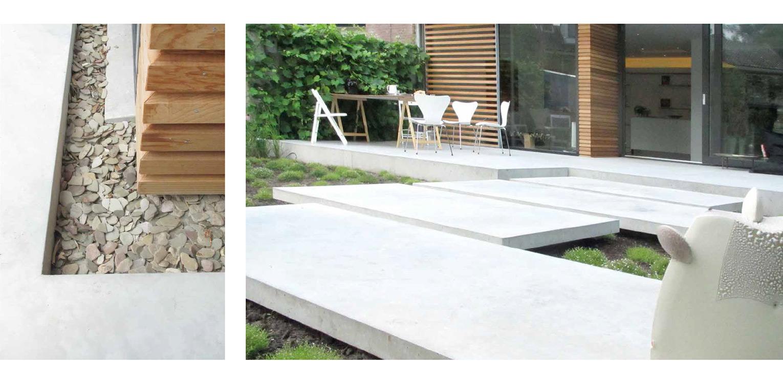 detaillering verharding patiotuin Diepenveen. Het in de woning toegepaste beton is consequent in de buitenruimte doorgetrokken - mede als podium voor kunst - Denkers in Tuinen