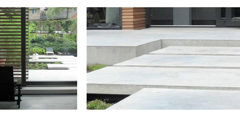 tredes gevlinderd beton patiotuin Diepenveen. Het in de woning toegepaste beton is consequent in de buitenruimte doorgetrokken - mede als podium voor kunst - Denkers in Tuinen