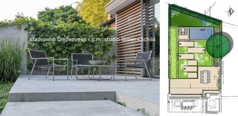 Betonterras patiotuin Diepenveen. Het in de woning toegepaste beton is consequent in de buitenruimte doorgetrokken - mede als podium voor kunst - Denkers in Tuinen