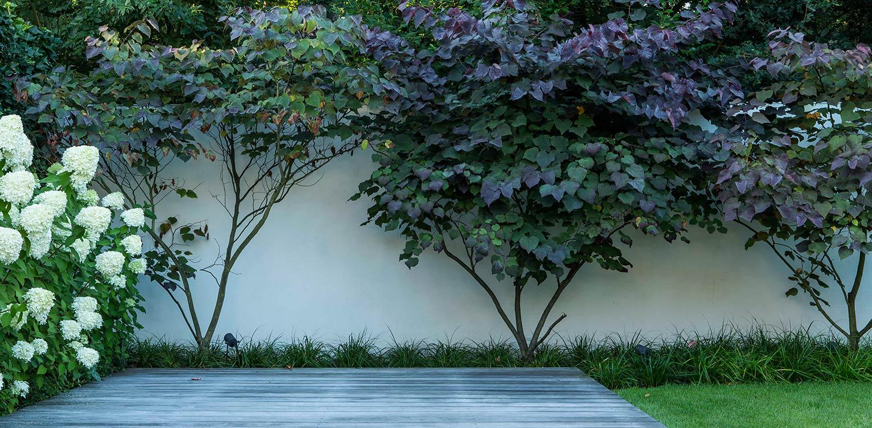 aquapanel witte tuinuur in villatuin Naarden. In het strakke en moderne tuinontwerp zijn enkele niet alledaagse grote 'spannende' lijnen en elementen opgenomen - Denkers in tuinen.