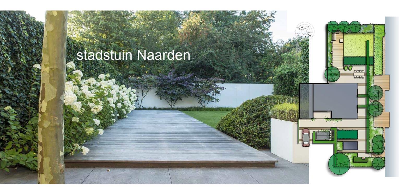 villatuin Naarden. In het strakke en moderne tuinontwerp zijn enkele niet alledaagse grote 'spannende' lijnen en elementen opgenomen - Denkers in tuinen.